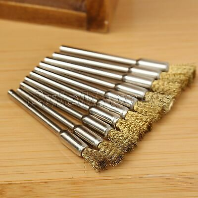 10Pcs 5mm Brass Wire Wheel Pencil Polishing Brush for Die Grinder Power Rotary