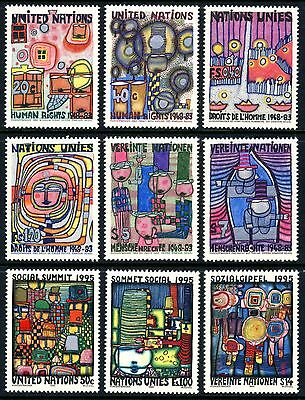 UN 1983 & 1995 HUNDERTWASSER Nine Paintings! - Mint Never Hinged