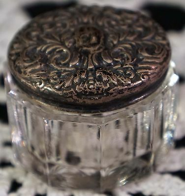 Lovely Antique Victorian Glass Inkwell With Sterling Silver Repousse Lid