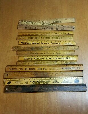 "Lot of 12 Vintage Advertising Rulers Wood 12""  TO 36"""