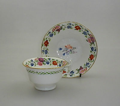 Early Staffordshire China Cup and Saucer Hand Painted
