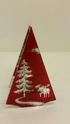 Merry & Bright Red Single Tea Light Candle Holder Christmas Tree & Moose