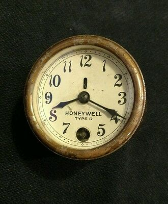 RARE Antique Brass HONEYWELL Type R TEMPERATURE REGULATOR CLOCK FACE