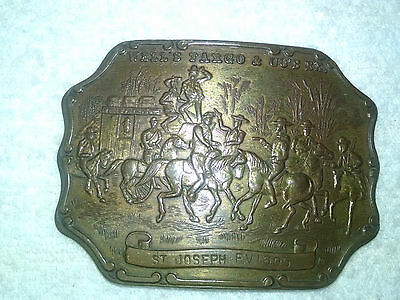 Vintage Wells Fargo & Co's Western Brass Belt Buckle