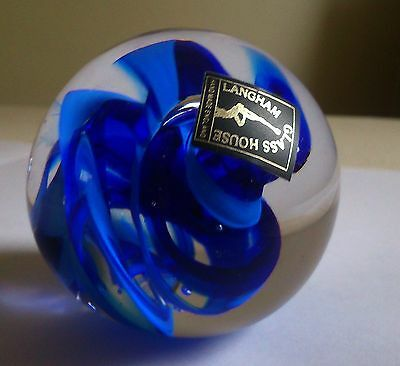 Langham Glass House Studio-Glass Cobalt Blue Swirl Pattern And Clear Paperweight
