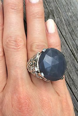 Stephen Dweck Sterling Silver Grey Agate ring, size 6