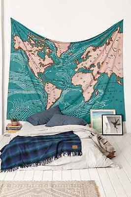 Urban Outfitters 4040 Locust Ocean World Map Current Tapestry Wall Hanging NWOT