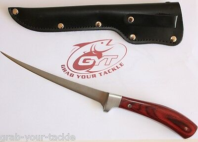 Fishing Knife SS Fillet Knife With Sheath 300mm Long Flexible Blade 170mm NEW