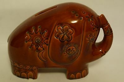Ceramic Dark Red Elephant Penny Bank Made in Italy