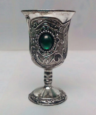 Old Decoration Handwork Tibet Silver Carved Flower Inlay Bead Pair Cup