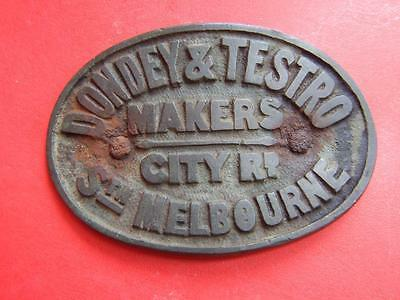 ANTIQUE BRONZE PLAQUE BY DONDEY @ TESTRO MAKERS MELBOURNE RARE C19OO's