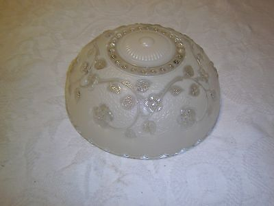 Antique ceiling light fixture glass shade 3 hole mount vine and flower pattern