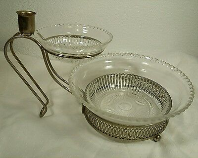 Antique Layered Chips And Dip Glass & Metal Serving Bowl Set