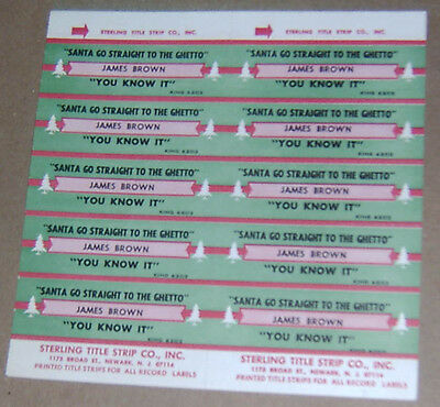Vintage Sterling Jukebox Title Strip James Brown Santa Go Straight To The Ghetto