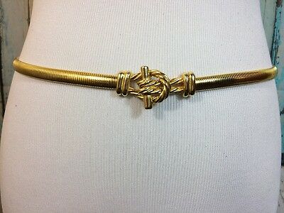Gold Tone Stretch Belt Metal Nautical Rope Knot Buckle Snake 80/90s Vtg M - L