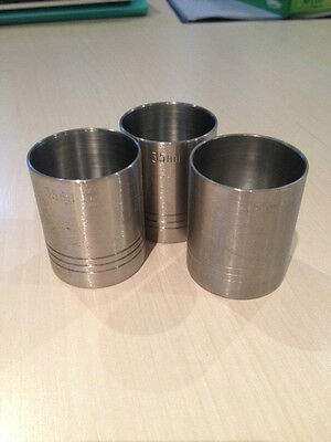 3 x STAINLESS STEEL 35ml THIMBLE SPIRIT MEASURES GOVERNMENT STAMPED