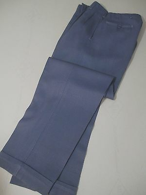 Vintage 1940s Pants Trousers Grey Wool Gabardine Pleated Cuffs 29 X 30