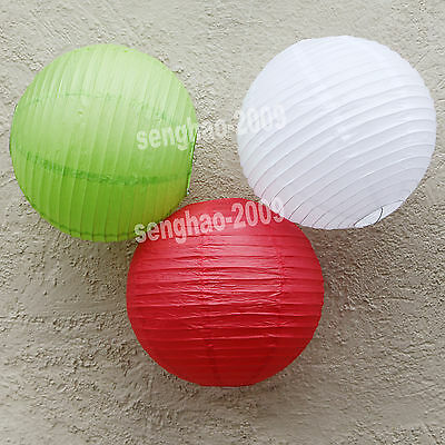 "36Mix (10""12"") White&Green&Red Paper Lanterns Party Wedding Decoration Led Light"