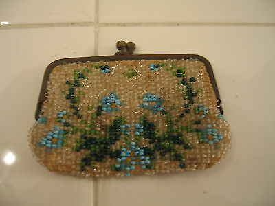 Antique Vintage Victorian c1900 Pretty Micro Beaded Change Coin Purse Floral