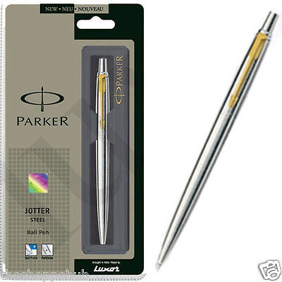 Personalised Engraved Parker Jotter Stainless Steel GT - Gold Trim-Free Shipping