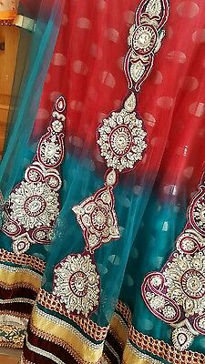 PakistanI bridal, wedding lehngah/dress/ pishwaz plezzo/ tulip red and green L/M