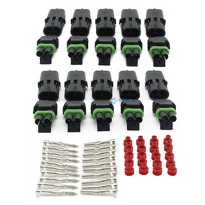 10x 1.5mm 2 Pin Way Waterproof Electrical Connector Wire Cable Plug Terminals ET