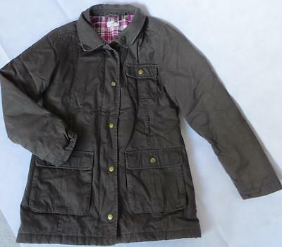 M&S Brown Waterproof Cotton Jacket Age 11 - 12 Winter Coat Check Lining