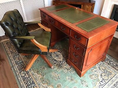 Green Leather Top Writing Desk + Chesterfield Captains Chair Set FREE UK P&P