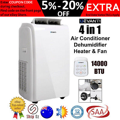 New PORTABLE AIR CONDITIONER FAN HEATER Dehumidifier Reverse Cycle Remote 4 in 1
