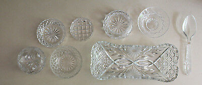 Bulk Lot 8 x Cut Glass Crystal Items Dishes Plate Serving Spoon Footed Bowl