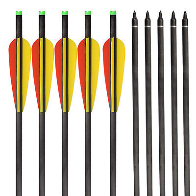 """Crossbow Bolts Archery Hybrid Carbon Arrows Hunting 125 Grains Points 4"""" Vanes"""