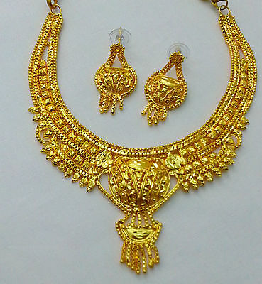 Elegant Fashion Indian Bollywood Ethnic Saree Gown Jewelry Necklace Earring #801