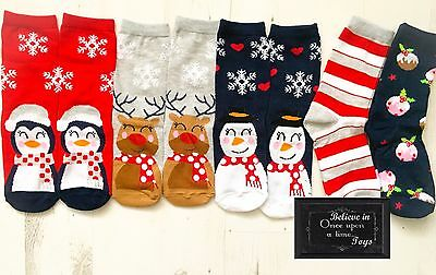 CHRISTMAS SNOWMAN SANTA CUTE PENGUIN REINDEER GIRLS XMAS SOCKS AGE 7-10 SET of 5