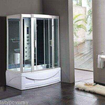 Steam Shower Cabin,Whirlpool Tub w/Heater,Foot massage.Bluetooth,Aromatherapy