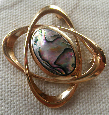 Vintage MODERNIST STYLE ABALONE MOTHER of PEARL NACRE SHELL Brooch / Pin 1970's