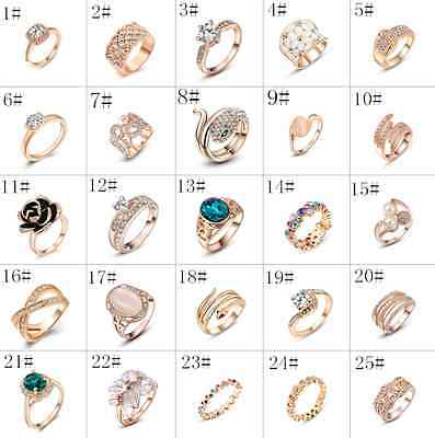 18k Rose Gold Plated Ring Wedding Engagement Ring Women's Zircon Fashion Jewelry