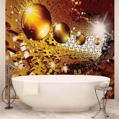 WALL MURAL PHOTO WALLPAPER XXL Golden Spheres and Pattern (3272WS)
