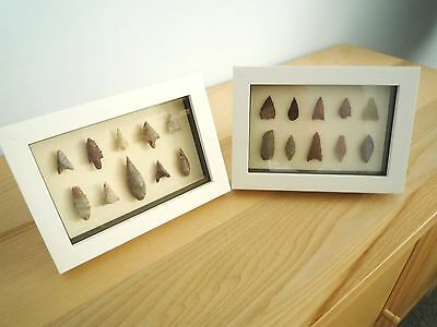 Neolithic Arrowheads in 3D Picture Frames x 2, Authentic Artifacts 4000BC (0165)