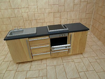 Dolls house kitchen unit with oven , hob and sink
