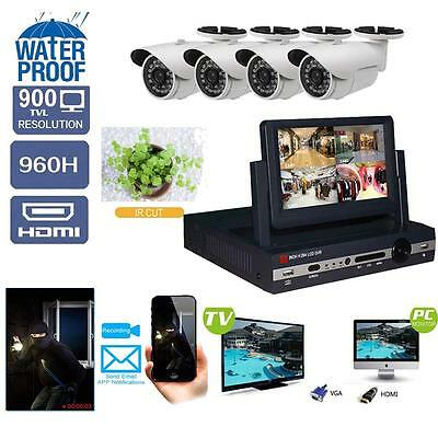 4CH CCTV 960H HDMI Outdoor IR Video IP Cameras Home Security System Kit +Screen