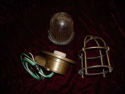 Vintage brass nautical boat cage or safety light