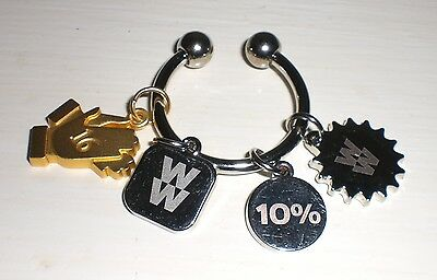 LOT 4 Weight Watchers Charms & Silver Key Ring 4 Week Celebration/10%/Hands/Sun