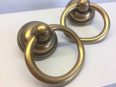 2x Reclaimed Old Antique Brass style  Drawer Cupboard Desk Handles Pulls