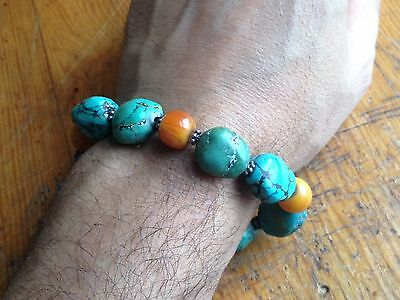 ANTIQUE CHINESE CARVED Turquoise BEADS Bracelet