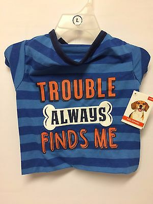 DOG T-Shirt - Trouble Always Finds Me in Blue - Size Large - NEW only £3.75