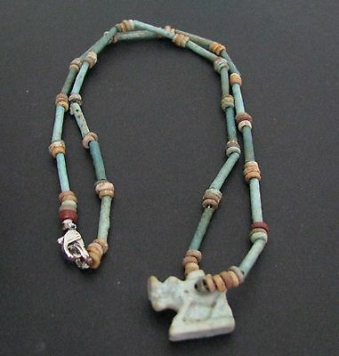 NILE  Ancient Egyptian Apis Bull Amulet Mummy Bead Necklace ca 1000 BC