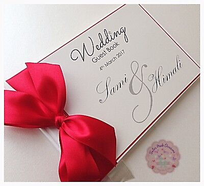 Pretty Elegant Personalised Wedding Guest Book. Any Colour
