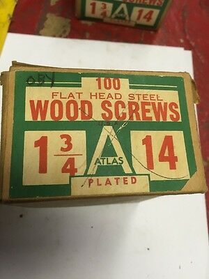 Vintage ATLAS #14 X 1 3/4 Inch FLAT  Head SLOTTED PLATED Wood Screws 100 PER box