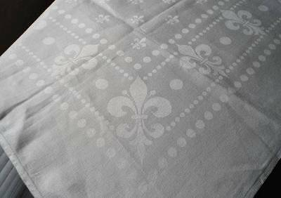 Vintage French Linen Double Damask Tablecloth Fleur de Lis Dots 45""