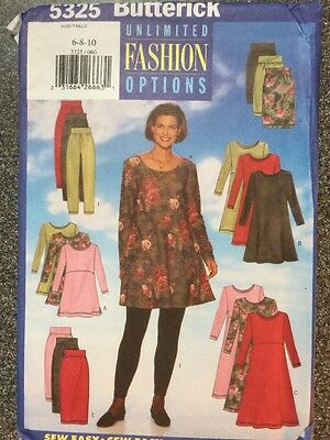 Butterick Sewing Pattern 5325 Sizes 6-10 Easy Knits Tunic Top Skirt Dress Pant